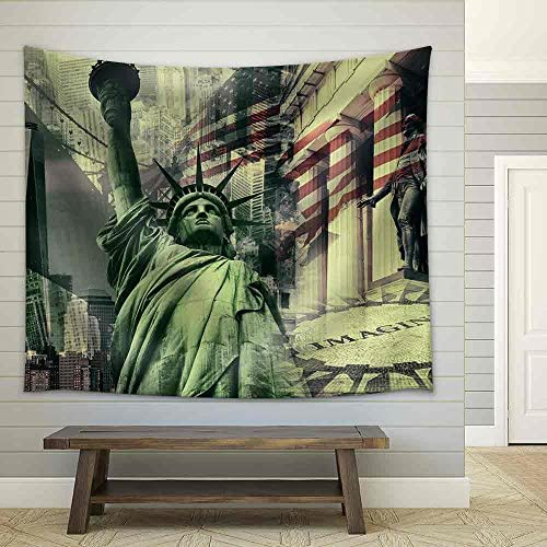 New York City United States of America Decorative Collage Containing Several New York Landmarks Fabric Wall