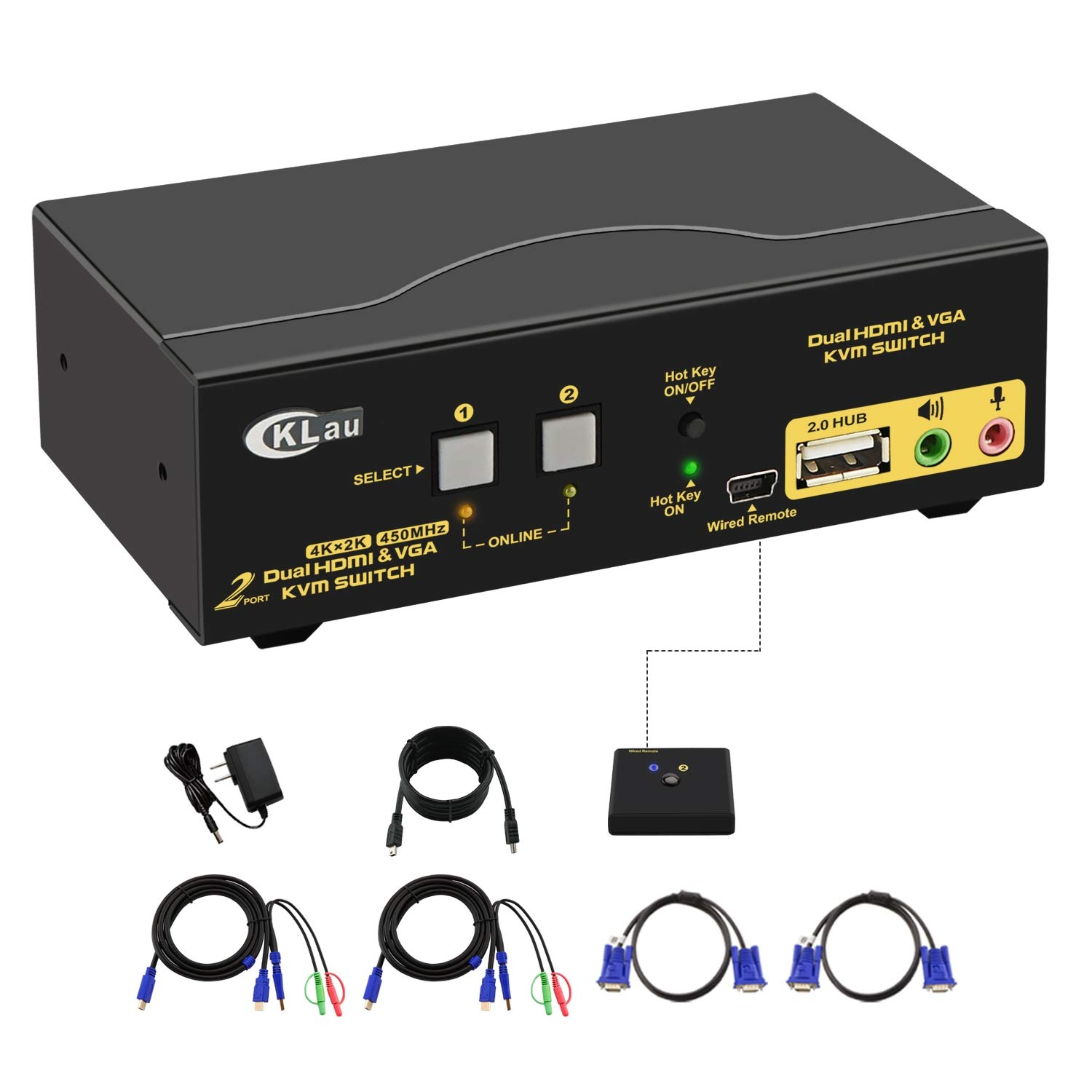 CKLau 2 Port Dual Monitor KVM Switch HDMI + VGA with Audio, Microphone, USB 2.0 Hub and Cables Support 4Kx2K@30Hz by CKLau