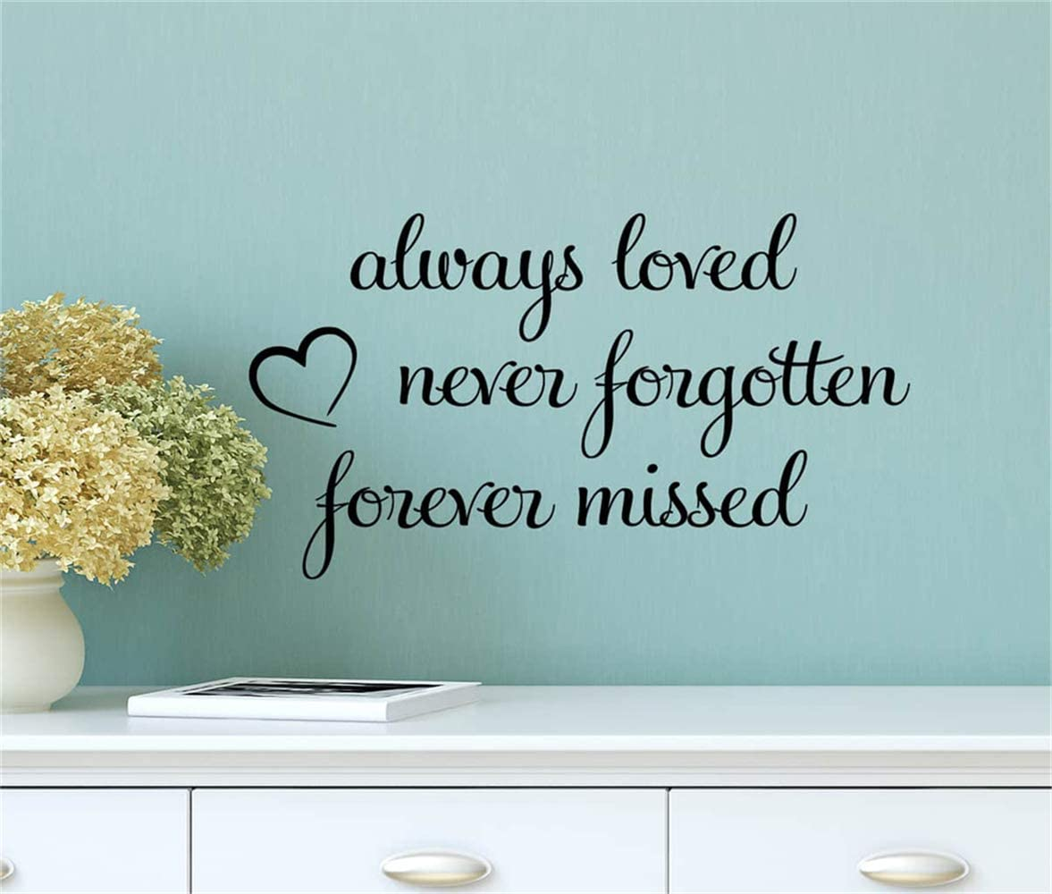 Wall Decal Room Wall Stickers Quotes Art Decor Always Loved Never Forgotten Forever Missed for Living Room Bedroom