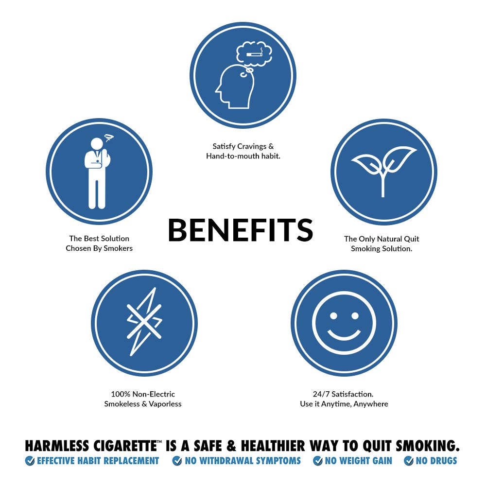 Harmless Quit Smoking Aid, Oxygen Smokeless Cigarette 30 Day Stop Smoking Solution, Safe Habit Replacement to Reduce Cravings Naturally and Overcome The Urge to Smoke (Cool Menthol, 30 Day Quit Kit)