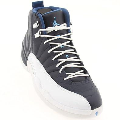 Nike Mens Air Jordan 12 Retro Obsidian/University Blue-White Leather  Basketball Shoes Size