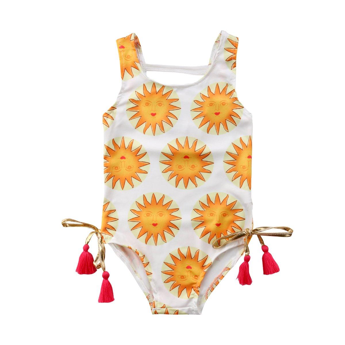 yannzi Toddler Baby Girls Swimsuit Sun Tassel One-Piece Swimwear Bathing Suit for Beach