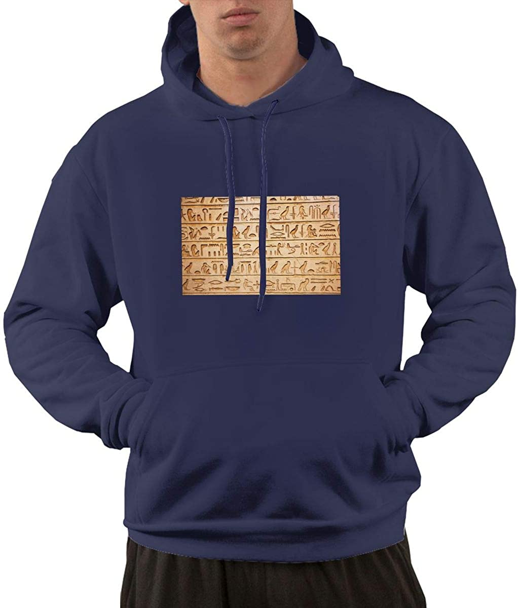 Volunteer Egyptian Men Printed Pullover Long Sleeve Hooded Black Sweatshirts with Pockets