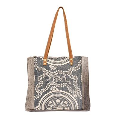 0504165d9a20 Amazon.com: Myra Bag Sapphire Upcycled Canvas & Cowhide Tote Bag S ...