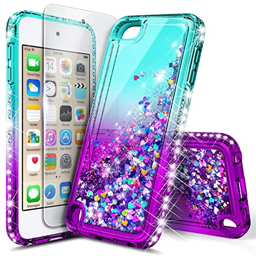 iPod Touch 7th /6th /5th Generation Case, iPod Touch 7/6/5 with Tempered Glass Screen Protector for Women Girls Kids, NageBee Glitter Sparkle Liquid Floating Waterfall Durable Cute Case -Aqua/Purple (Ipod Touch Covers For Kids)
