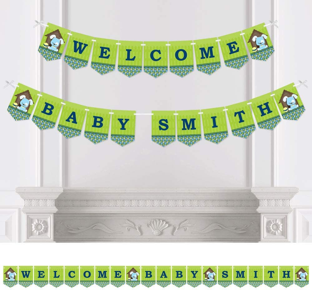 Big Dot of Happiness Construction Truck Baby Shower Bunting Banner Welcome Baby Construction Party Decorations