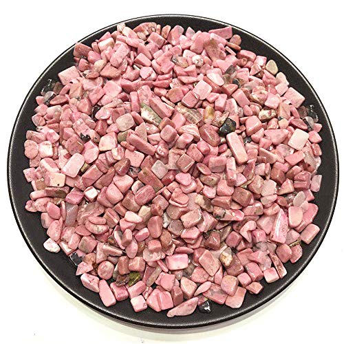 ZUINIUBI Rhodonite Tumbled Chips Betta Pebbles 1.1lb Small Polished Stones Healing Reiki Crystal Rocks for Jewelry Craft Making Fish Turtle Tank Succulents Home Decoration 0.4inch