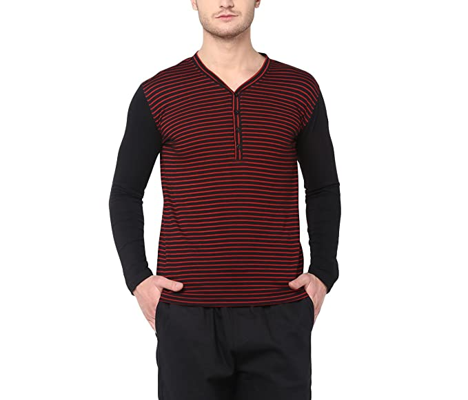 0a284ccafdc Image Unavailable. Image not available for. Colour  Hypernation Red and  Black Stripe Cotton Blend Henley T-Shirt ...