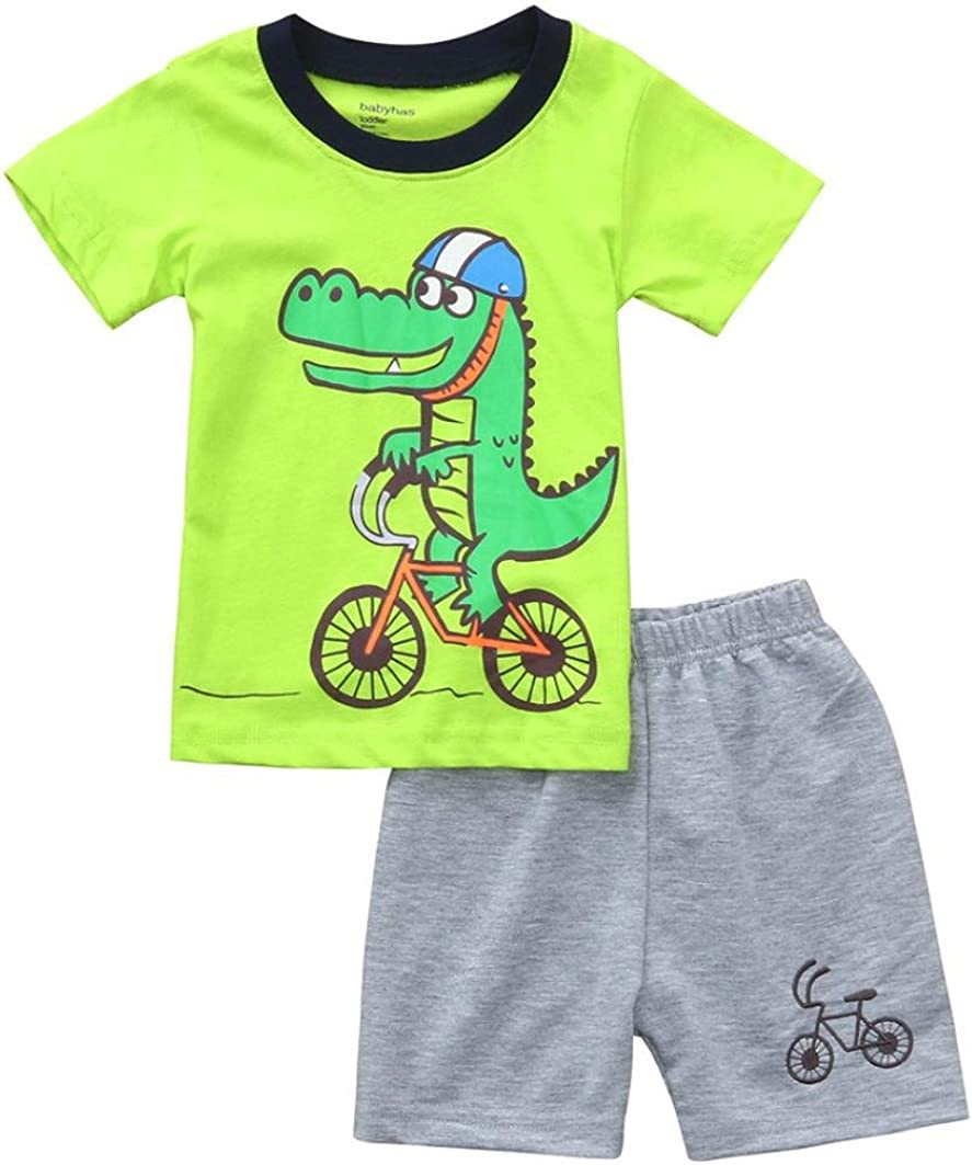 erthome Baby Boy Clothes Sets 1-6 Years Newborn Infant Dinosaur Printed Tops T-Shirt Boy Toddler Cartoon Print Shorts Outfits Sets