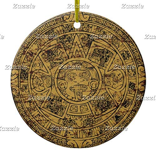 Ditooms Aged Aztec Sun Stone Calendar Ceramic Ornament Circle 3 Inches