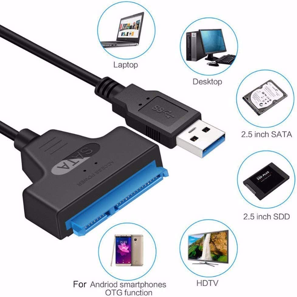 Support UASP 5.12 Inch USB 3.0 SATA III Hard Drive Adapter Cable for 2.5 Inch SSD Support UASP