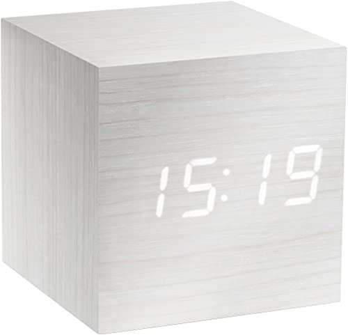 Gingko Cube LED Click Clock Alarm Clock with Sound Activation Time, Date Temperature , White White