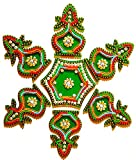 DMS RETAIL Single Piece Attractive Designer Acrylic Stone and Pearl Kundan Rangoli(Green, Medium)