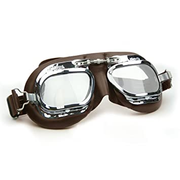 409d61d96dc Halcyon Mark 410 Motorcycle and Classic Car Goggles with Real Leather and  Solid Brass Chrome Frames