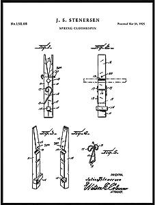 Clothes Pin Patent, Clothes Pin Print, Clothes Pin Poster, Kitchen Decor, Kitchen Wall Art, Laundry Room Decor, Clothes Line, QP495