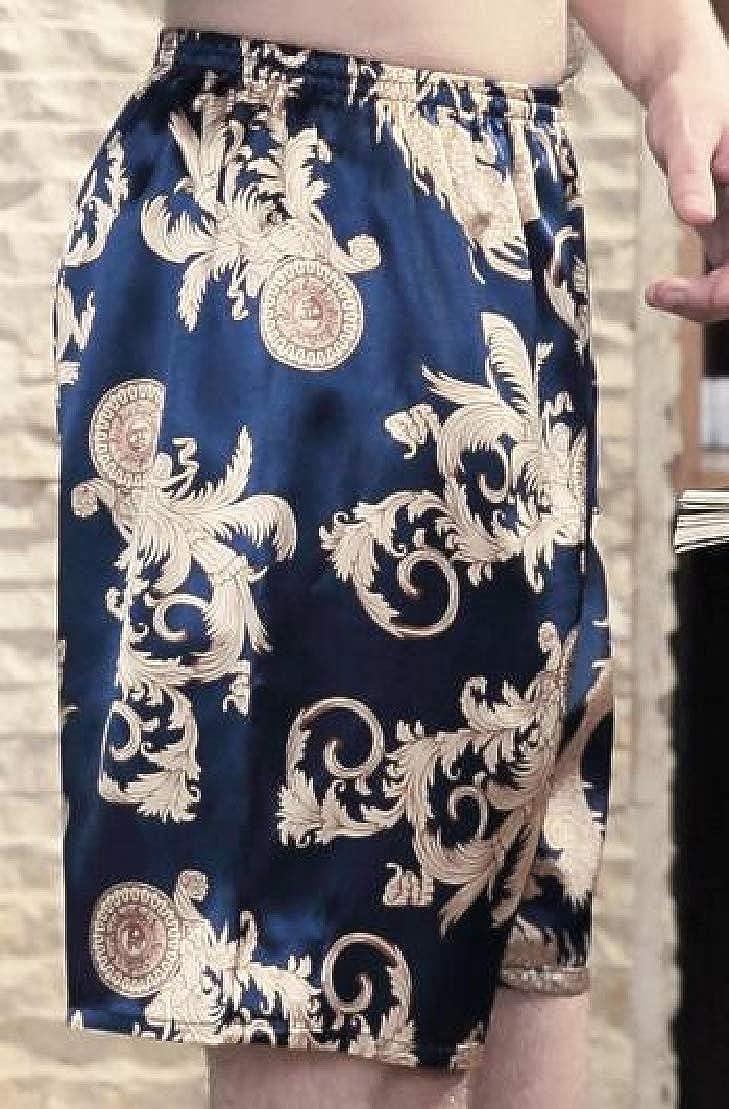 Wofupowga Mens Faux Silk Homewear Print Shorts Casual Summer Pajama Pants