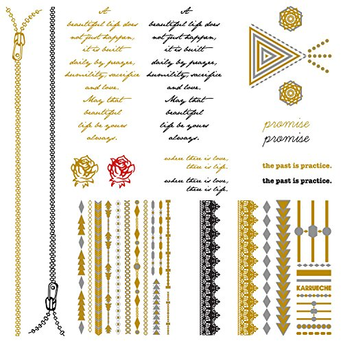 [Tattify Karrueche K-Ink Temporary Tattoo Collection - Mega Box of 16 Metallic, Gold, Silver, Black, Red Tattoos, Leg Sleeve,] (Frankenstein Costume Pics)