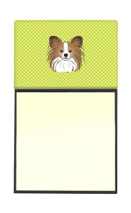 Caroline tesoros del tablero de ajedrez verde lima papillón rellenable titular o de notas adhesivas dispensador