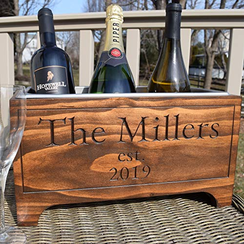 (Personalized Wine chiller, champagne bucket, wedding gift, ice bucket, beer cooler, bridal shower gift, gift for beer lovers, wood cooler)