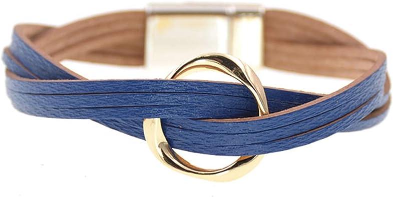 18 Colors Charm Leather Bracelets for Women /& Men Multiple Layers Wrap Bracelets Couple Gifts Fashion Jewelry Blue 20cm
