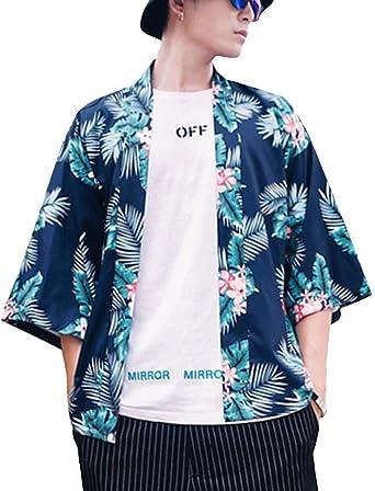 Hombres Camisa Kimono Estilo Japonés Cardigan Estampado Jacket Manga 3/4: Amazon.es: Ropa y accesorios