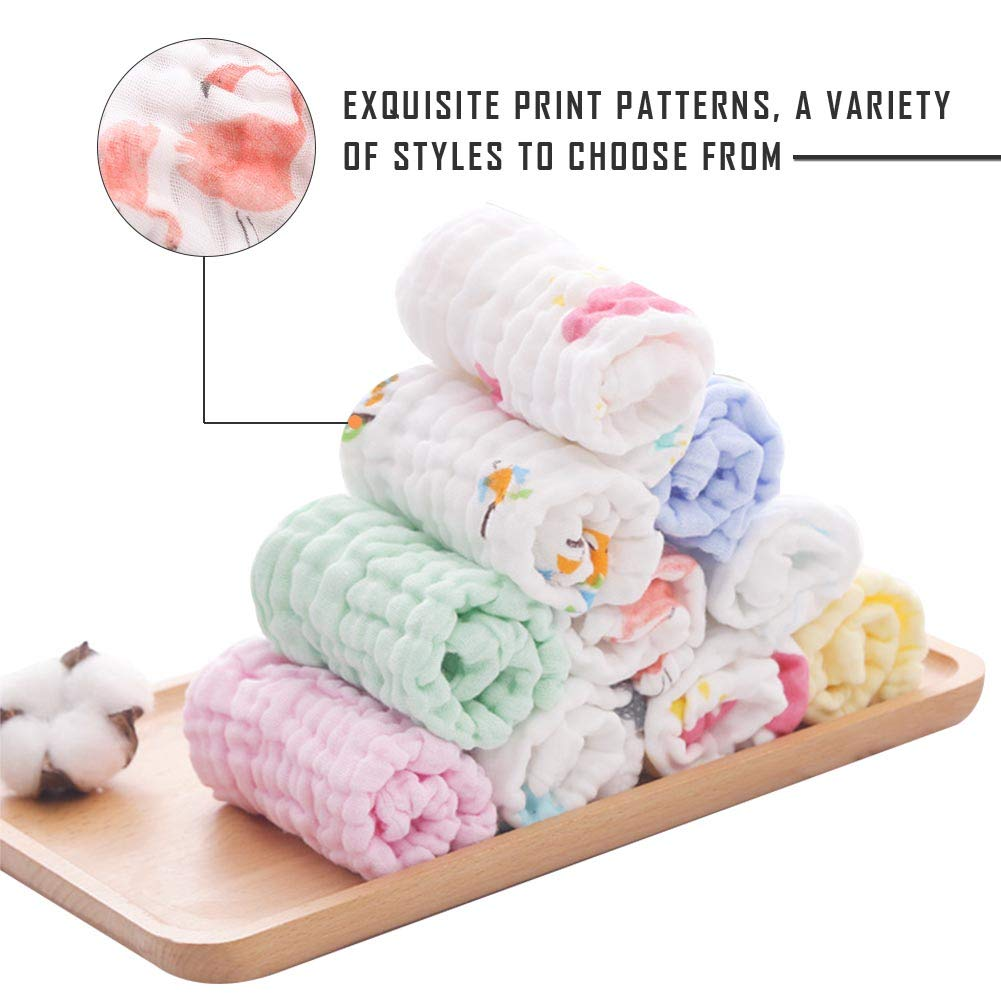 Baby Musselin-Waschlappen Weiches Baby Gesicht Handtuch und Musselin Waschlappen f/ür empfindliche Haut 100/% nat/ürliche Baumwolle Baby T/ücher