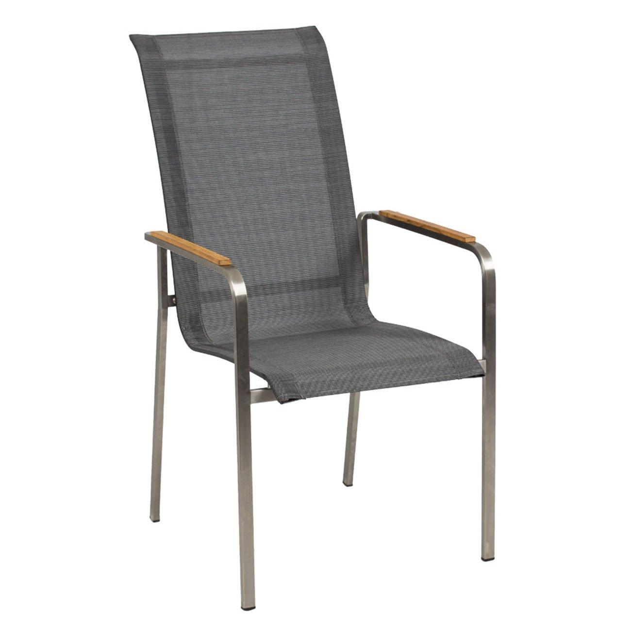 Gartenstuhl OUTLIV. Leon Stapelsessel Edelstahl/Textilene Silber-Schwarz Stuhl Garten