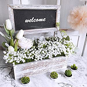 """Supla Pack 2 Baby's Breath Artificial 14 Forks,Total of 882 White Blooms Babys Breath Bulk Flower Bush Gypsophila Artificial in White -15.7"""" Tall for Wedding Wreath Boutonniere Flower Crown 4"""