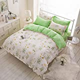 3 Pieces Duvet Cover Set Twin Queen King Size Bedding 1 Duvet Cover 1 Flat Sheet 1 Pillowcases Luxury Quality Soft Breathable Hypoallergenic Fresh Floral French Garden with Zipper Ties (Twin)