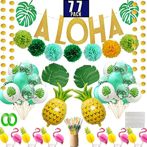 Funnlot Hawaiian Party Decorations 77Pcs Luau Birthday Party Supplies Including Aloha Banner Tropical Palm Leaves Cake Topper Balloons Drinking Umbrella Straws for Aloha Party Summer Party ()