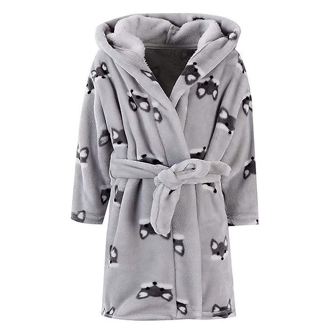POLP Albornoz Mujer Hombre Niño Niña Franela Pijama casa camisón con Capucha Bata de Baño Ropa