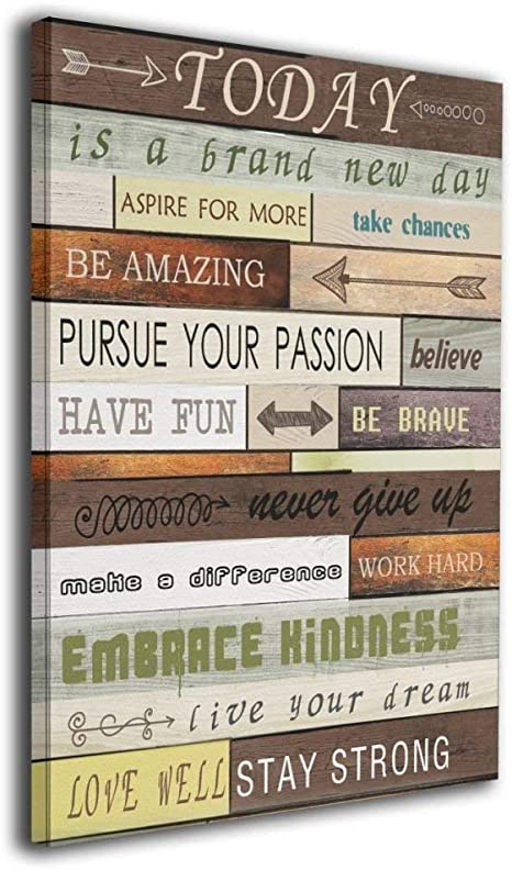 Art Logo Today Is A Brand New Day Canvas Print Inspirational Quotes Wall Art Painting For Home Decor Vintage Picture Giclee Artwork Decoration Wood Grain Looking Textual Gallery Wrapped 16 X20 Posters Prints