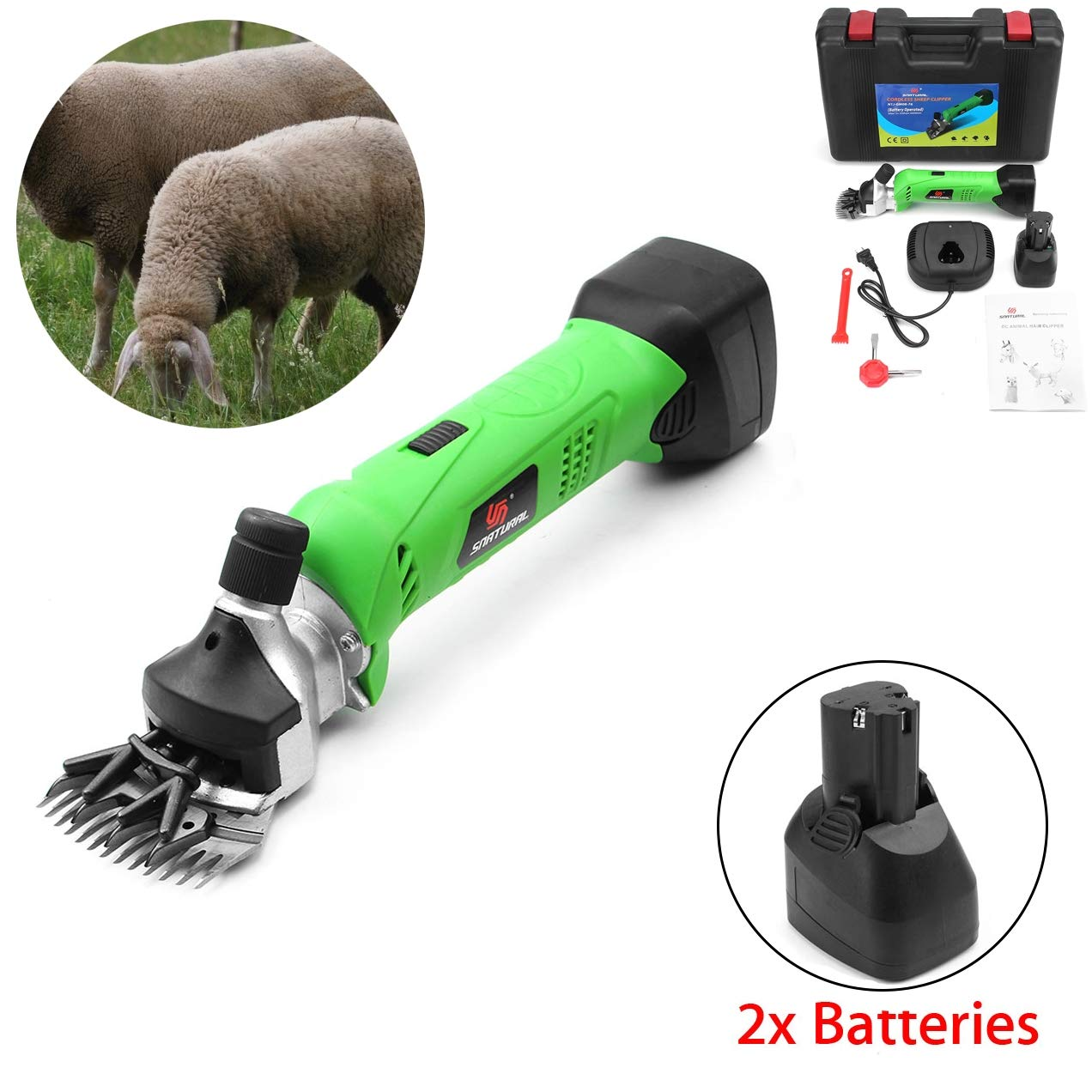 Green 12V Cordless Electric Shearing Clipper 200W Wool Electric Sheep Shearing for Farm Livestock Pet Supplies Grooming