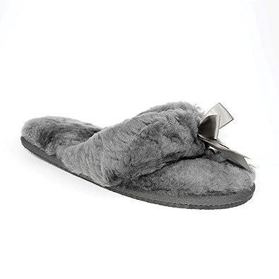 d215e29bc4f Ricardo B.H. Women s Plush Sheepskin Slipper with Rubber Bottom- Grey