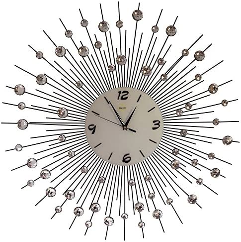 Sunburst Wall Clock Black Metal Shape