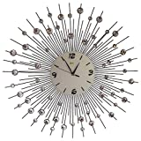 "Cheap Sunburst Wall Clock Black Metal Shape With Crystals Decorative White Glass Dial 29""inch"