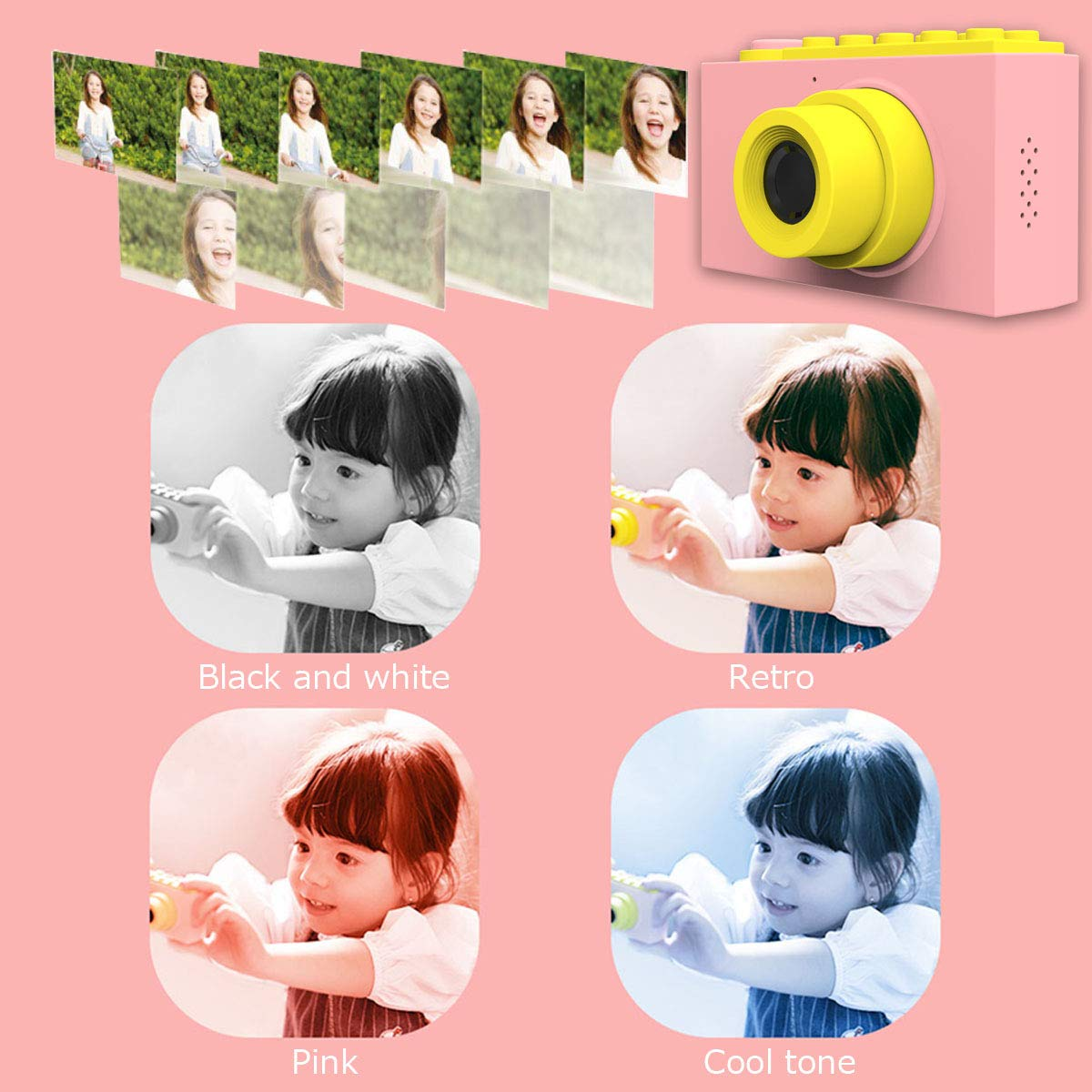 MAGENDARA Kids Digital Camera HD 1080P Children Camera with 2.0 Inch Screen Toy Camera for Boys Girls Birthday with Waterproof Case-Pink by MAGENDARA (Image #6)