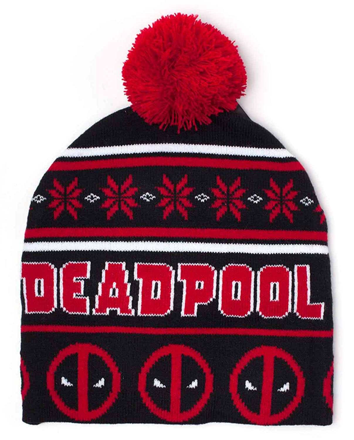 Deadpool Beanie Hat Christmas Angry face Log Bobble Official Marvel Black Marvel Merch
