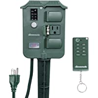 DEWENWILS Outdoor Power Strip Weatherproof Yard Stake Timer with Photocell Light Sensor, Remote Control, 6ft Extension Cord with Switch, 6 Waterproof Grounded Outlets with Protective Cover, UL Listed