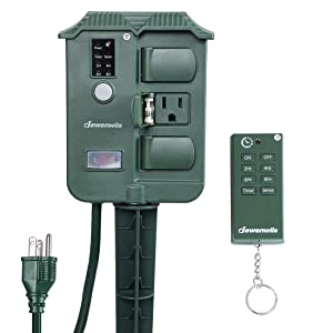 DEWENWILS Outdoor Power Strip Stake Timer,Weatherproof Surge Protector Photocell Light Sensor Switch with Wireless Remote, 6' Extension Cord, 6 Waterproof Grounded Outlets with Cover, 15A, UL Listed
