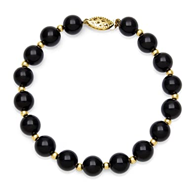 Amazon.com  10k Yellow Gold Black Onyx Beaded Bracelet for Women ... 1eb5d0cf8c