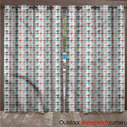 (cobeDecor Abstract Outdoor Curtains for Patio Sheer Houndstooth Motifs W96 x L108(245cm x 274cm))