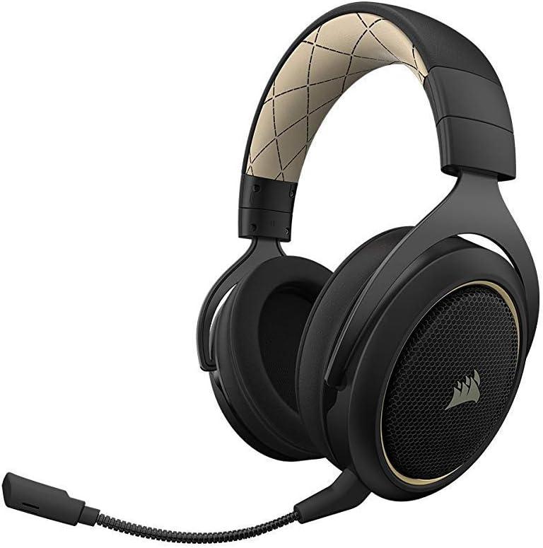 Corsair HS70 Wireless - Auriculares inalámbricos para Juegos (Sonido Envolvente 7.1, con micrófono Desmontable, para PC/PS4) Special Edition Beige (Reacondicionado)