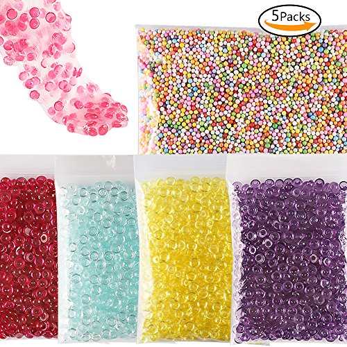 Teenitor Crunchy Slime Beads, Beads in Slime, 4 Pack Fishbowl Beads Cheap Slime Beads Filler Beads For Slime & 1 Pack Colorful Foam Beads Floam Beads for Slime for Crunchy Slime Making 0.125' Edge Bead