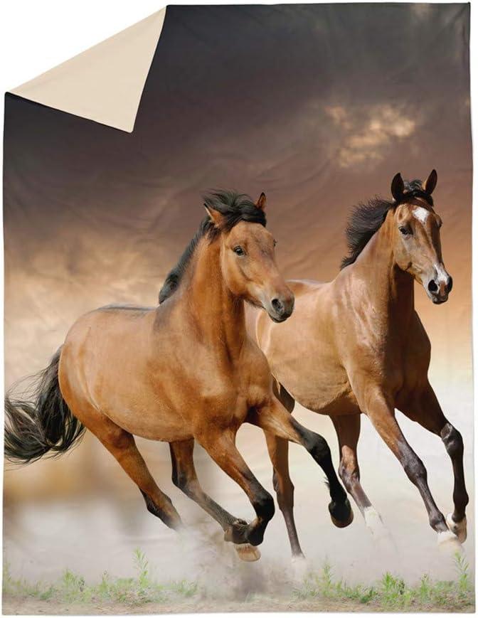 Parure de lit 140x200 Enfant 1 Personnes Housse de Couette 3D Animal Courant Cheval Paysage D/ésert Neige Prairie Impression Literie Gar/çon Fille Simple
