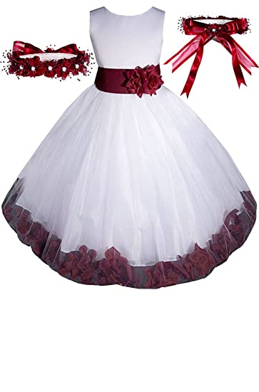 fcd930ef10b8d Image Unavailable. Image not available for. Color: AMJ Dresses Inc Big Girls  White/burgundy Flower Pageant Dress ...