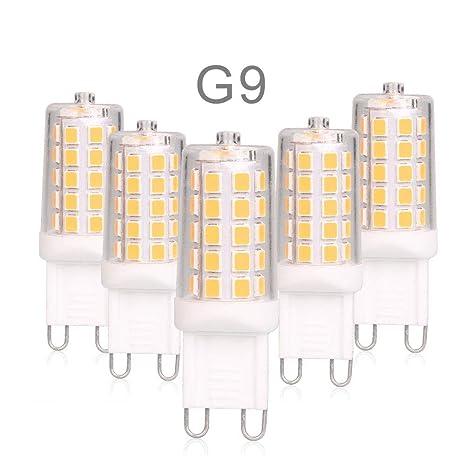 Bombillas LED G9 4W Equivale 40W Halógena, Blanco Cálido 400lm 200-240V AC, Pack de 5