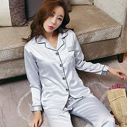 Wanglele Primavera Y Otoño Mujer Pijama De Manga Larga De Seda Fina Sección Verano Mujer Seda