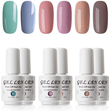 Amazon Com Gellen Gel Nail Polish Kit Pastel Opaque 6 Colors Gel Polish Popular Nail Art Colors Home Nail Gel Manicure Kit Beauty