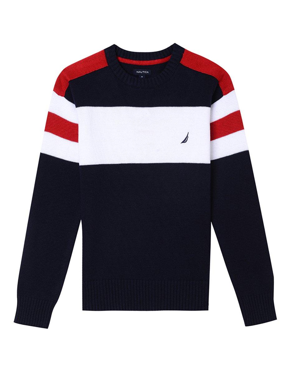 Nautica Boys' Little Crew Neck Stripe Sweater, Cruise Sport Navy, 6